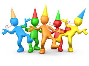 Royalty-free computer generated 3D clipart picture of a diverse group of colorful people wearing party hats and blowing noise makers while dancing at a birthday or new years eve party.